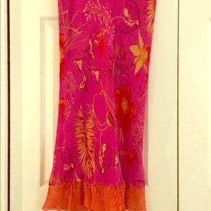 Karen Kane Floral/Snakeskin 100% Silk Skirt; Sz: M